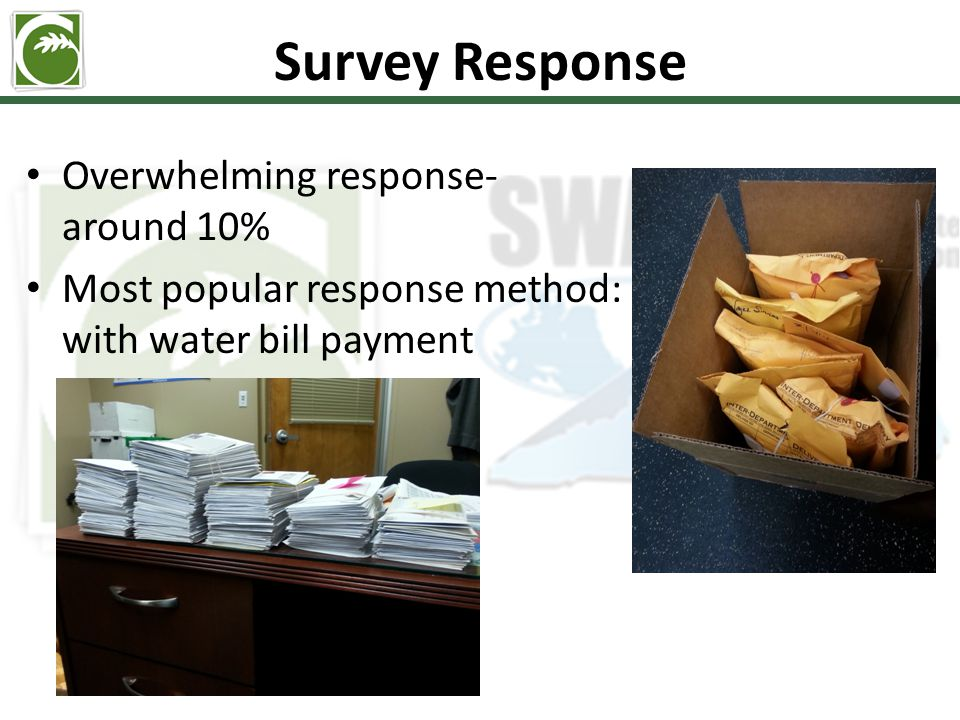 Survey Response Overwhelming response- around 10% Most popular response method: with water bill payment