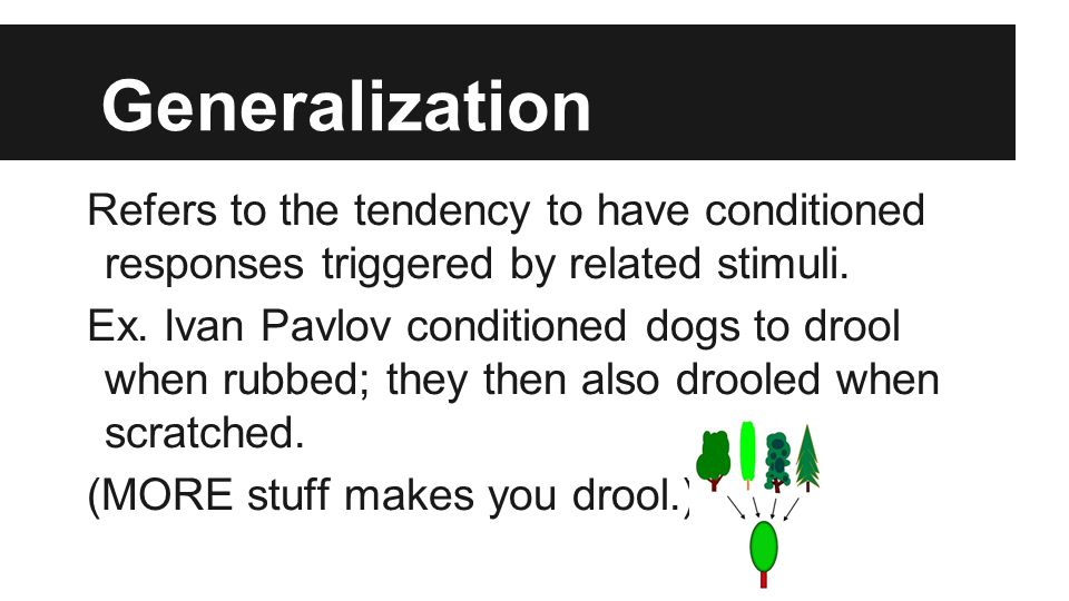 Generalization Refers to the tendency to have conditioned responses triggered by related stimuli.