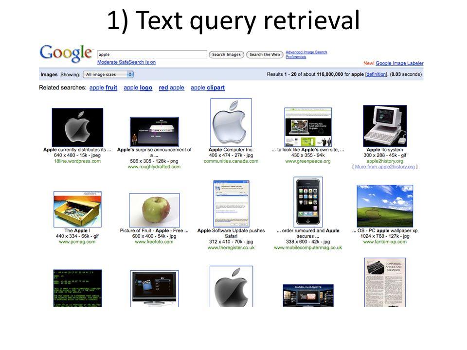 1) Text query retrieval