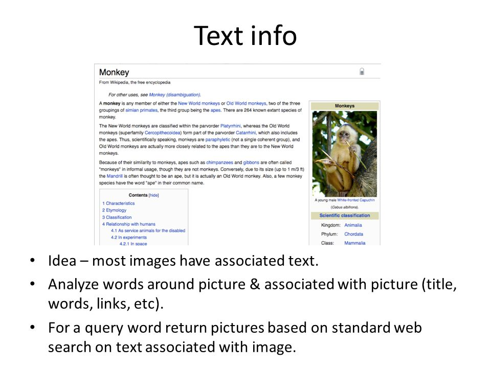 Text info Idea – most images have associated text.