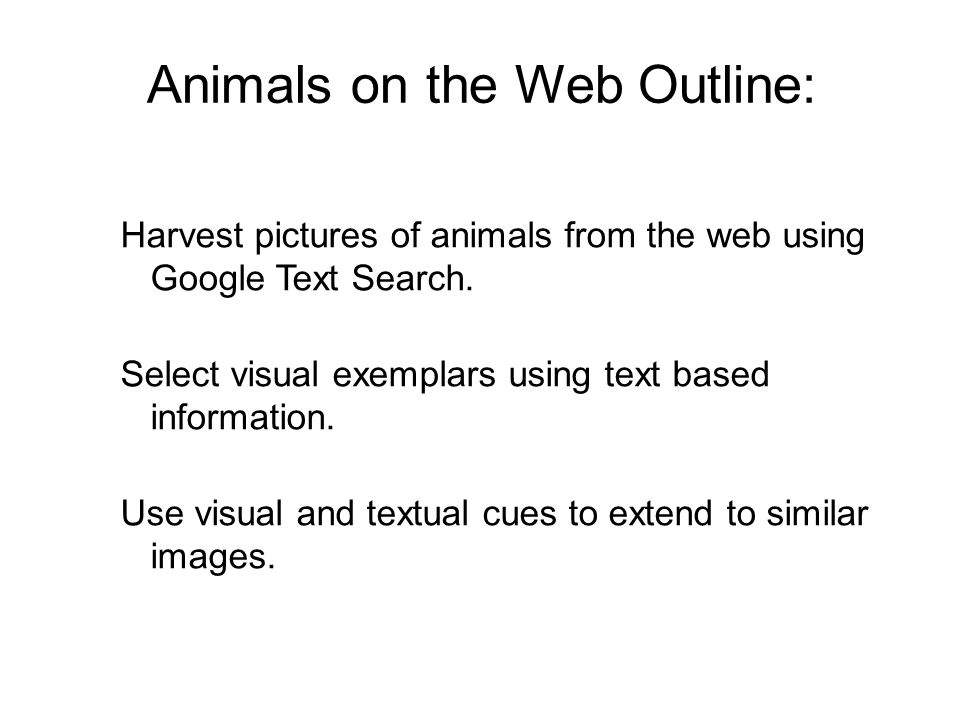 Animals on the Web Outline: Harvest pictures of animals from the web using Google Text Search.