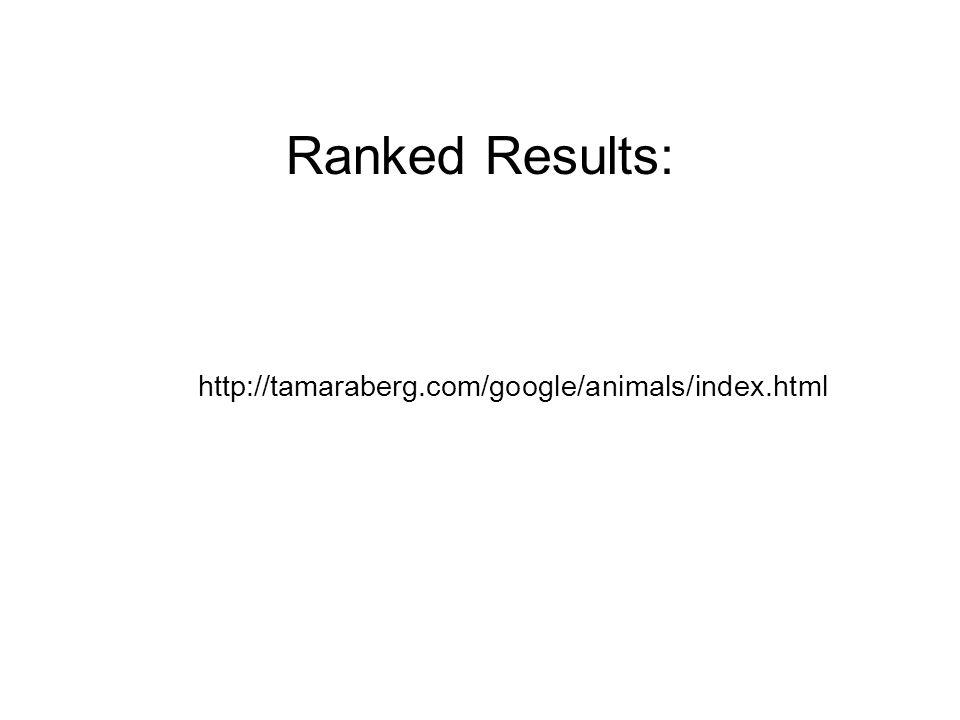 Ranked Results: http://tamaraberg.com/google/animals/index.html