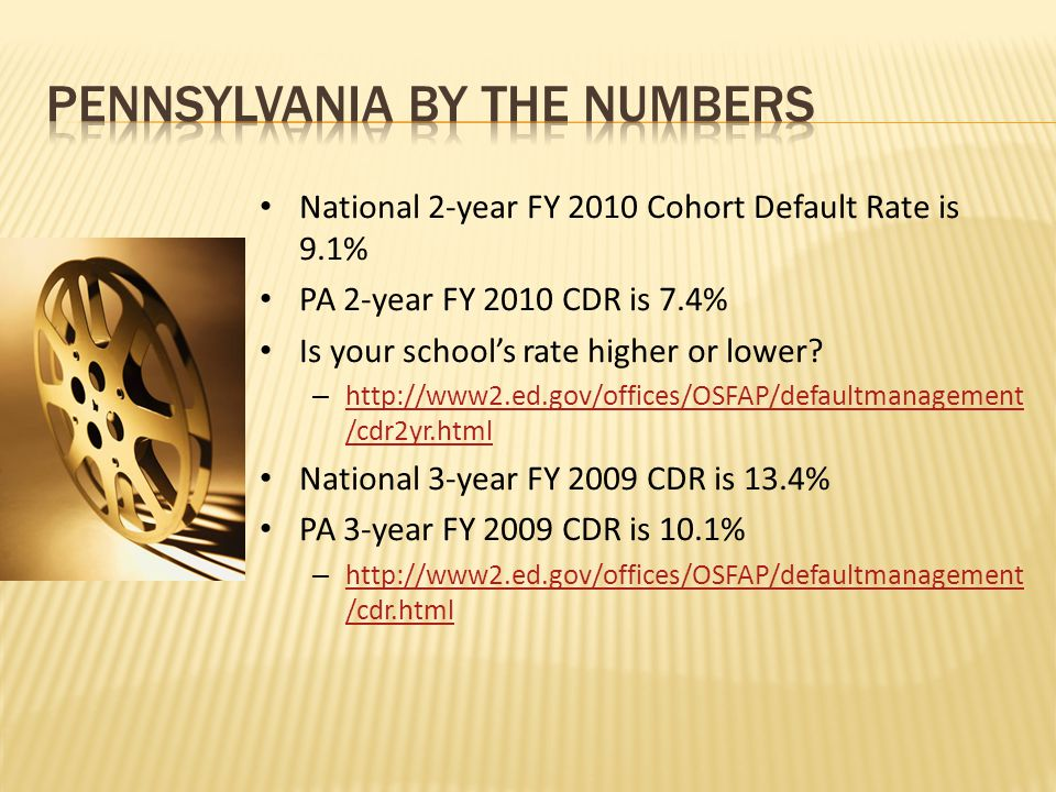 National 2-year FY 2010 Cohort Default Rate is 9.1% PA 2-year FY 2010 CDR is 7.4% Is your school's rate higher or lower.