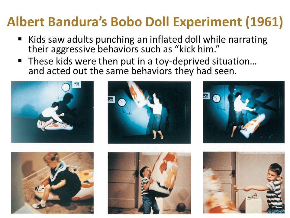 """Albert Bandura's Bobo Doll Experiment (1961)  Kids saw adults punching an inflated doll while narrating their aggressive behaviors such as """"kick him."""