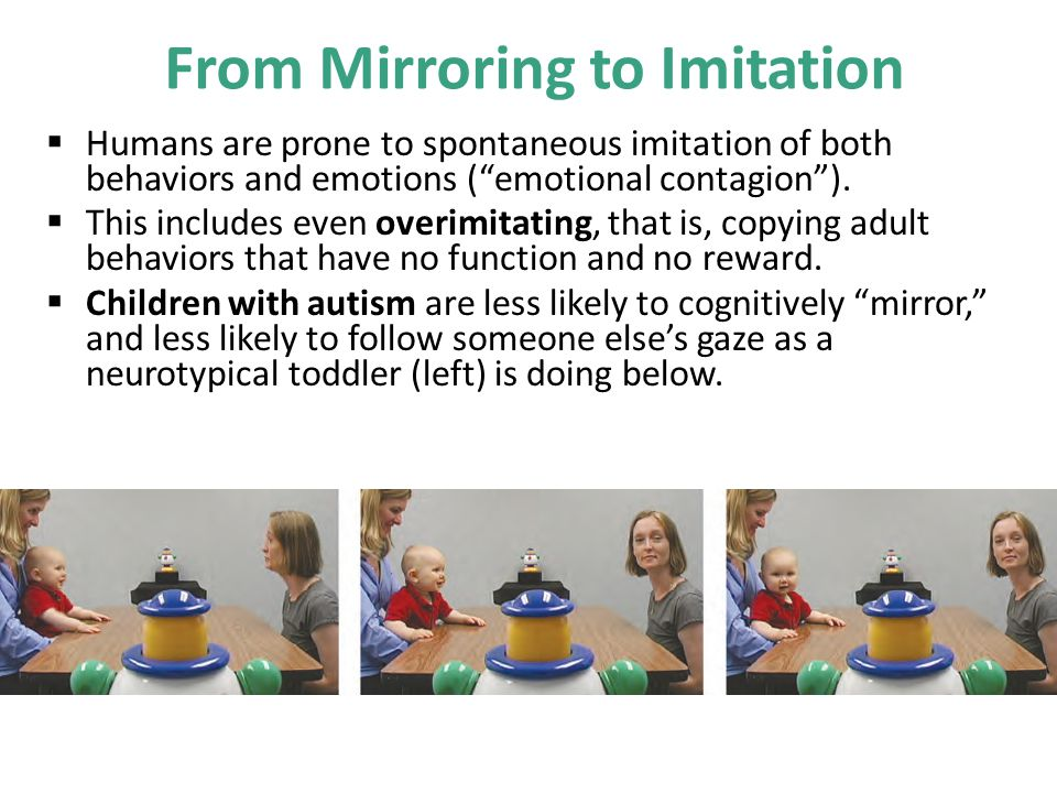 """From Mirroring to Imitation  Humans are prone to spontaneous imitation of both behaviors and emotions (""""emotional contagion"""").  This includes even o"""