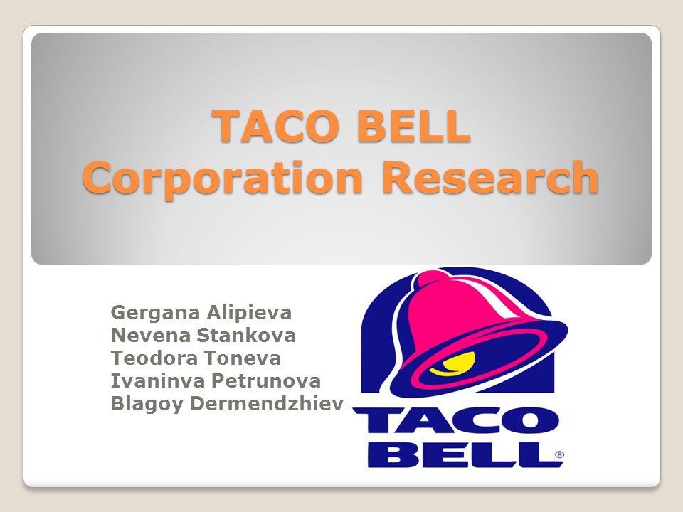 TACO BELL Corporation Research Gergana Alipieva Nevena Stankova Teodora Toneva Ivaninva Petrunova Blagoy Dermendzhiev