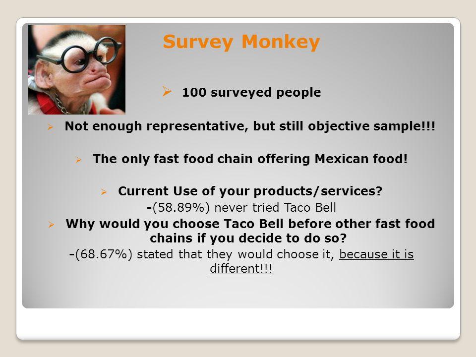 Survey Monkey  100 surveyed people  Not enough representative, but still objective sample!!.