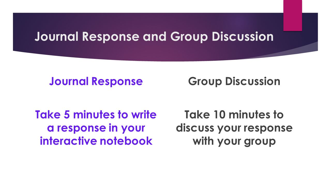 Journal Response and Group Discussion Journal Response Take 5 minutes to write a response in your interactive notebook Group Discussion Take 10 minutes to discuss your response with your group