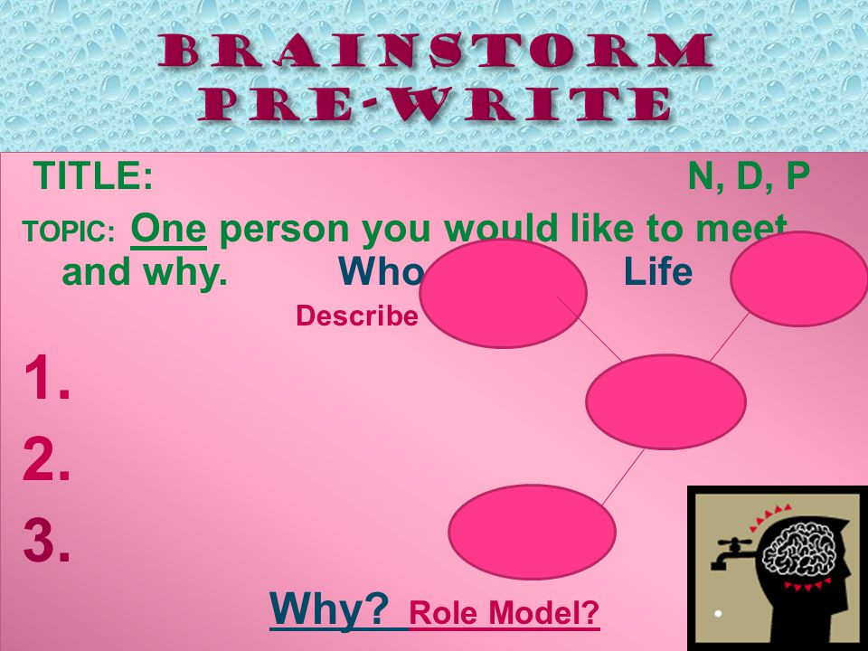 TITLE: N, D, P TOPIC: One person you would like to meet and why.