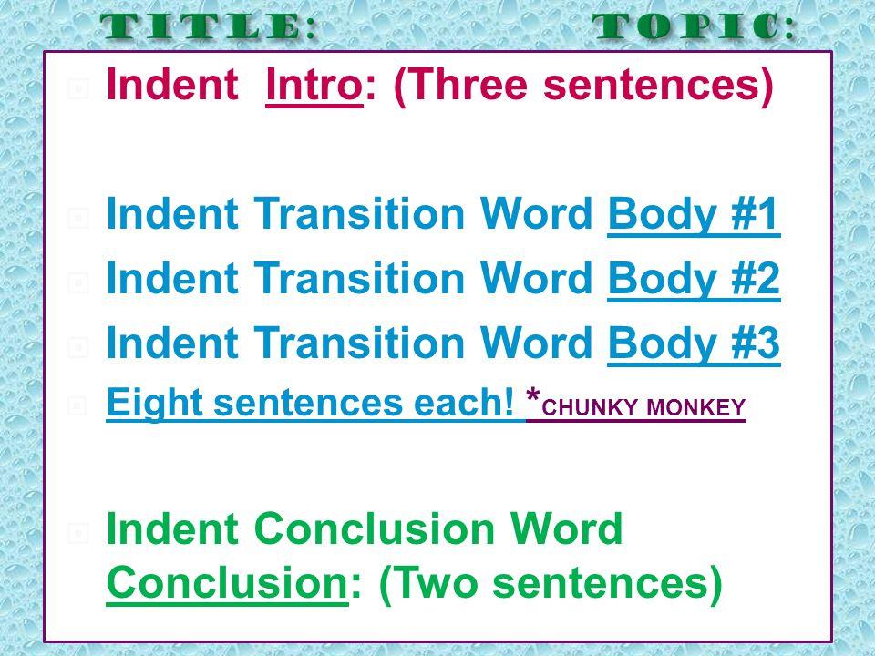 IIndent Intro: (Three sentences) IIndent Transition Word Body #1 IIndent Transition Word Body #2 IIndent Transition Word Body #3 EEight sent