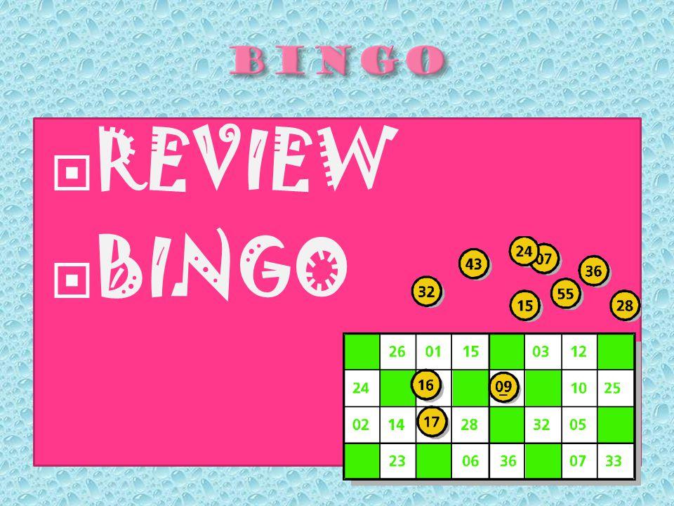  REVIEW  BINGO