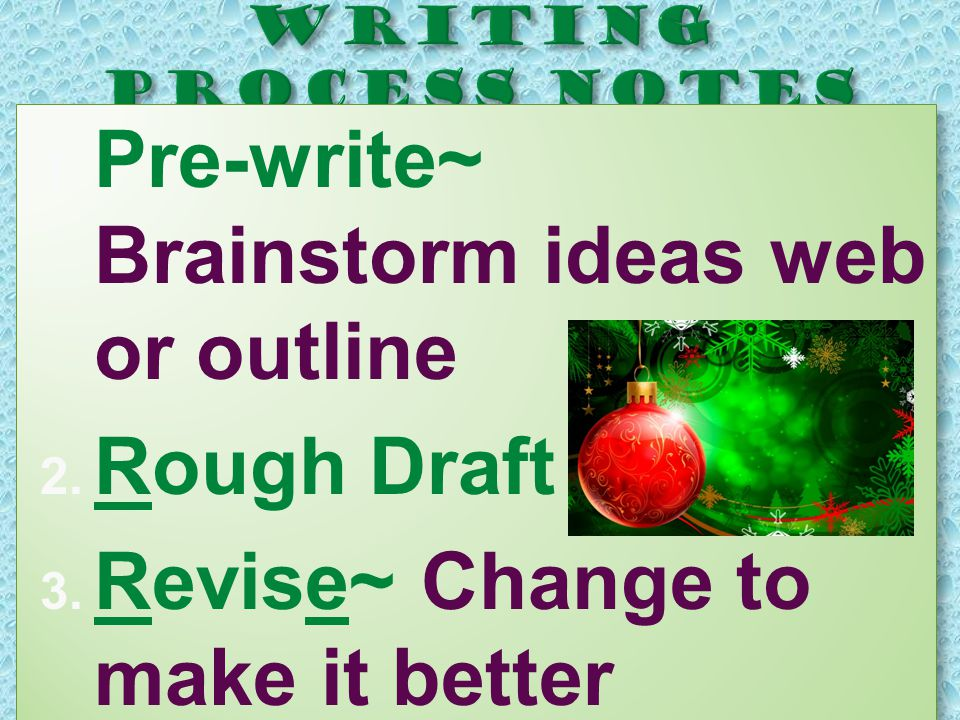  Pre-write~ Brainstorm ideas web or outline  Rough Draft  Revise~ Change to make it better  Pre-write~ Brainstorm ideas web or outline  Rough Draft  Revise~ Change to make it better
