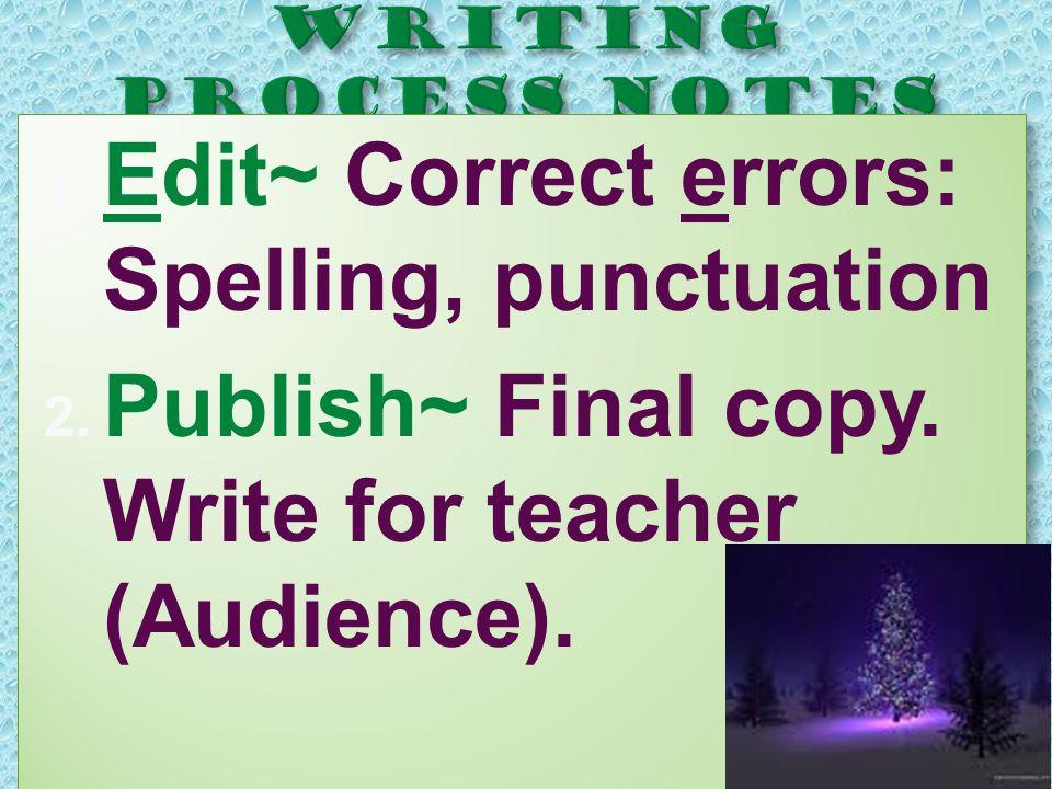  Edit~ Correct errors: Spelling, punctuation  Publish~ Final copy. Write for teacher (Audience).  Edit~ Correct errors: Spelling, punctuation 