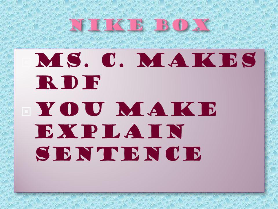  Ms. C. Makes RDF  You make EXPlain Sentence  Ms. C. Makes RDF  You make EXPlain Sentence