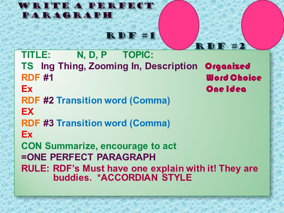 TITLE: N, D, P TOPIC: TS Ing Thing, Zooming In, Description Organized RDF #1 Word Choice Ex One Idea RDF #2 Transition word (Comma) EX RDF #3 Transition word (Comma) Ex CON Summarize, encourage to act =ONE PERFECT PARAGRAPH RULE: RDF's Must have one explain with it.