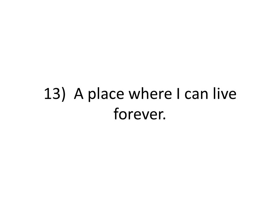 13) A place where I can live forever.