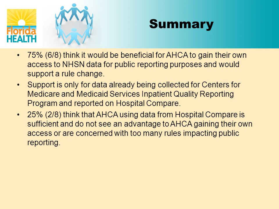 Summary 75% (6/8) think it would be beneficial for AHCA to gain their own access to NHSN data for public reporting purposes and would support a rule c