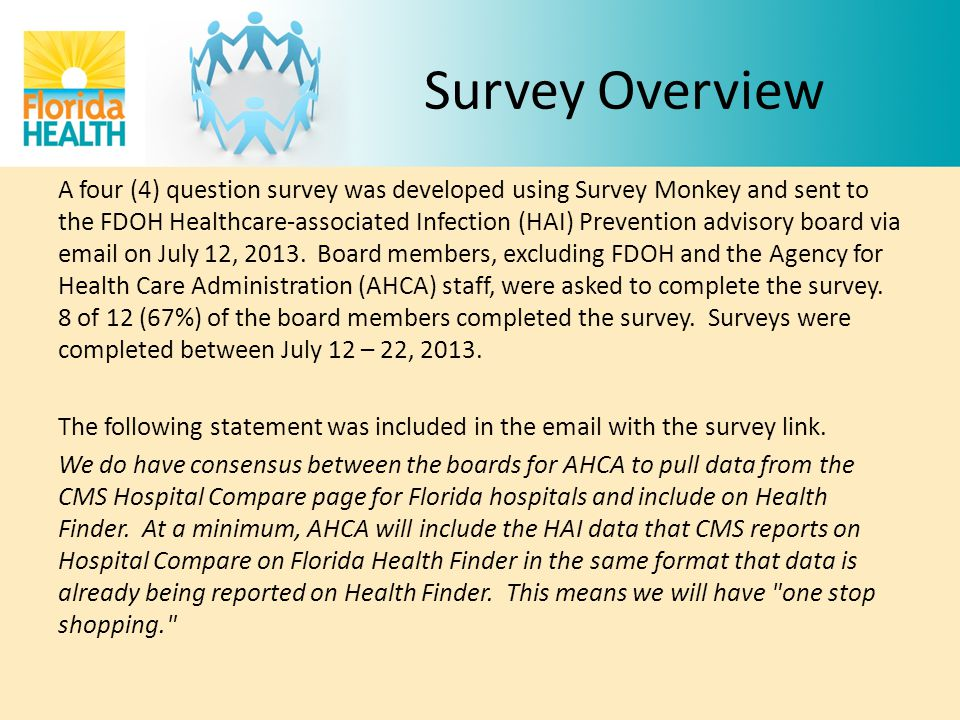 FDOH HAI Advisory Board Consists of 14 members – 2 from AHCA (excluded) – 2 from long-term care (Florida Health Care Association & Florida Association for Directors of Nursing Administration in Long-term Care) – 8 associated with acute care (Florida Hospital Association, Florida Infectious Disease Society, Hospital Corporation of America, Florida Professionals in Infection Control, Hospital Epidemiology, Infection Preventionists) – 1 from Council of State and Territorial Epidemiologists – 1 from FMQAI, Florida's Quality Improvement Organization