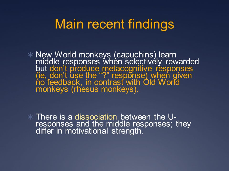 Main recent findings  New World monkeys (capuchins) learn middle responses when selectively rewarded but don't produce metacognitive responses (ie, don't use the response) when given no feedback, in contrast with Old World monkeys (rhesus monkeys).