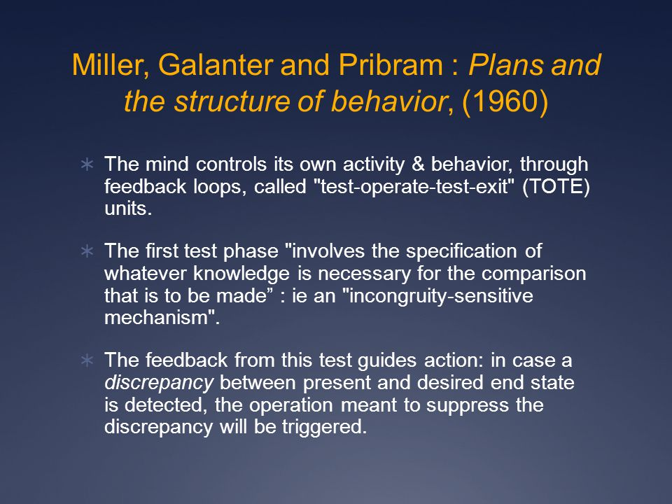 Miller, Galanter and Pribram : Plans and the structure of behavior, (1960)  The mind controls its own activity & behavior, through feedback loops, called test-operate-test-exit (TOTE) units.