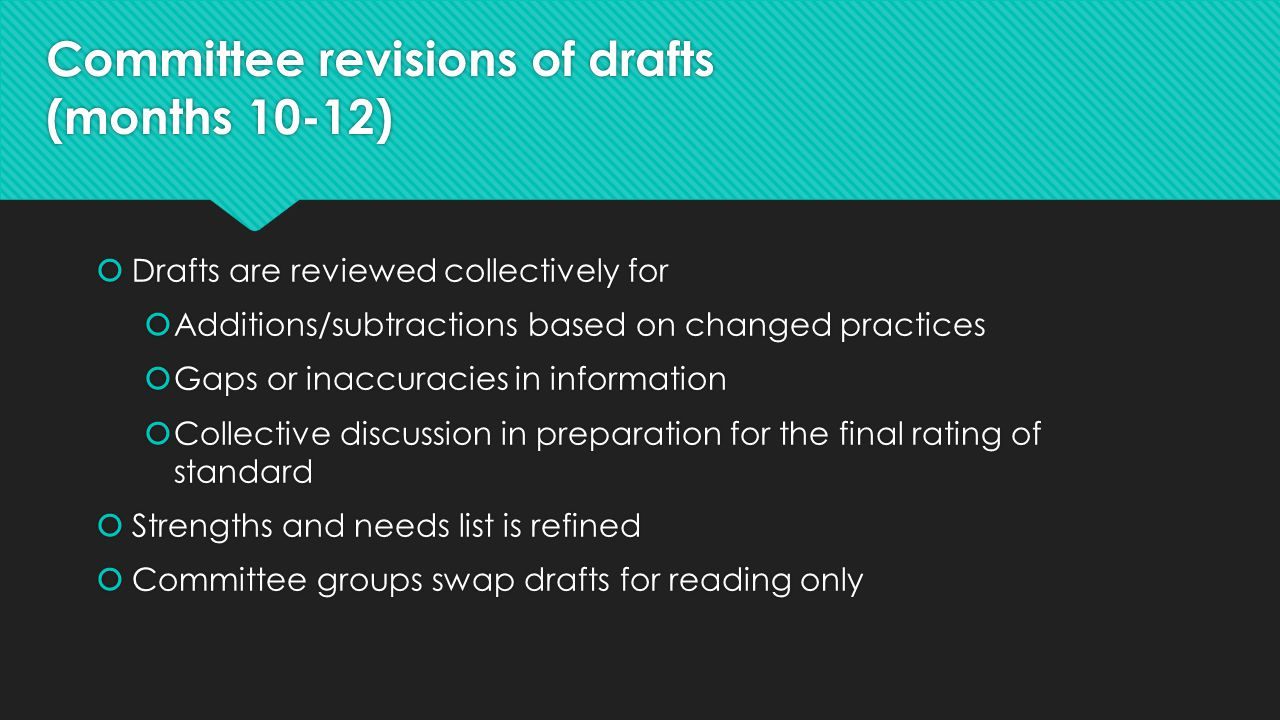 Committee revisions of drafts (months 10-12)  Drafts are reviewed collectively for  Additions/subtractions based on changed practices  Gaps or inac