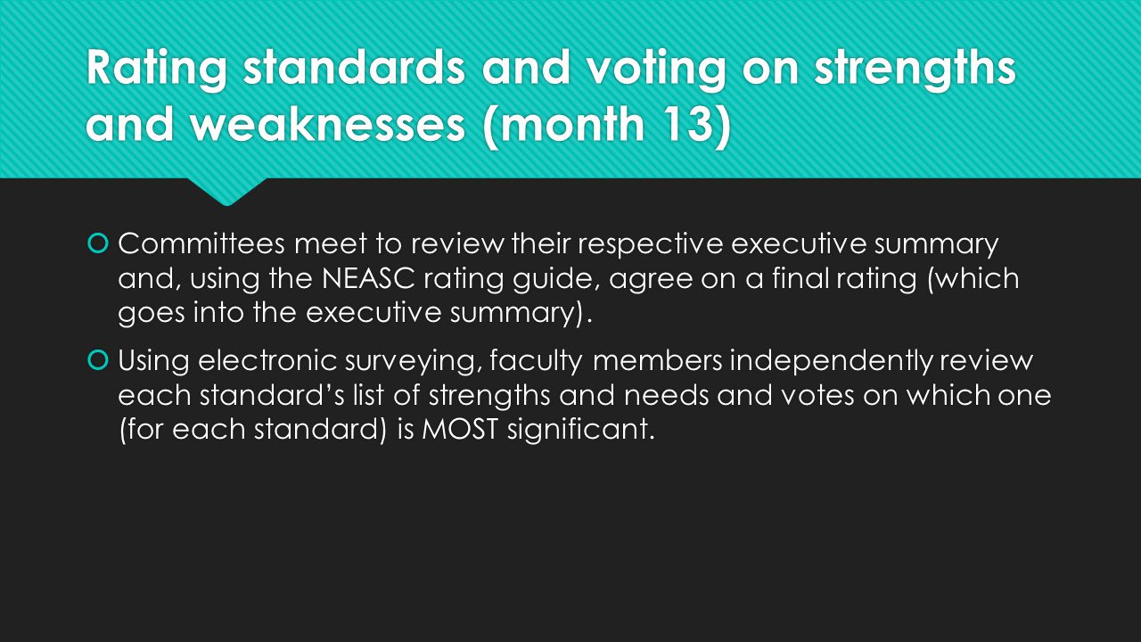 Rating standards and voting on strengths and weaknesses (month 13)  Committees meet to review their respective executive summary and, using the NEASC