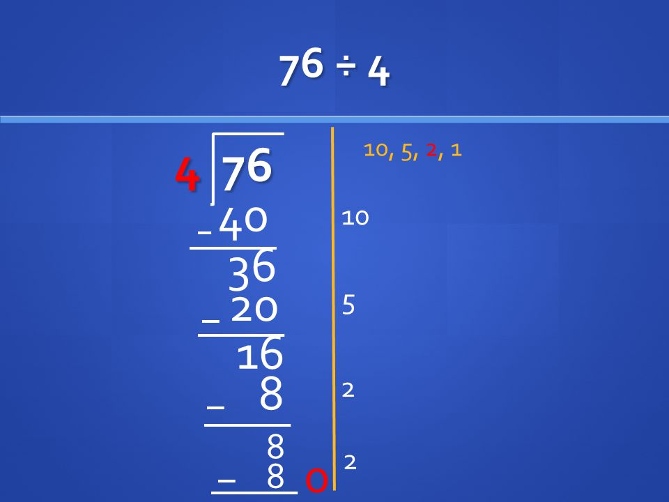 76 ÷ 4 4 76 10, 5, 2, 1 10 40 36 20 5 16 2 8 8 2 8 0
