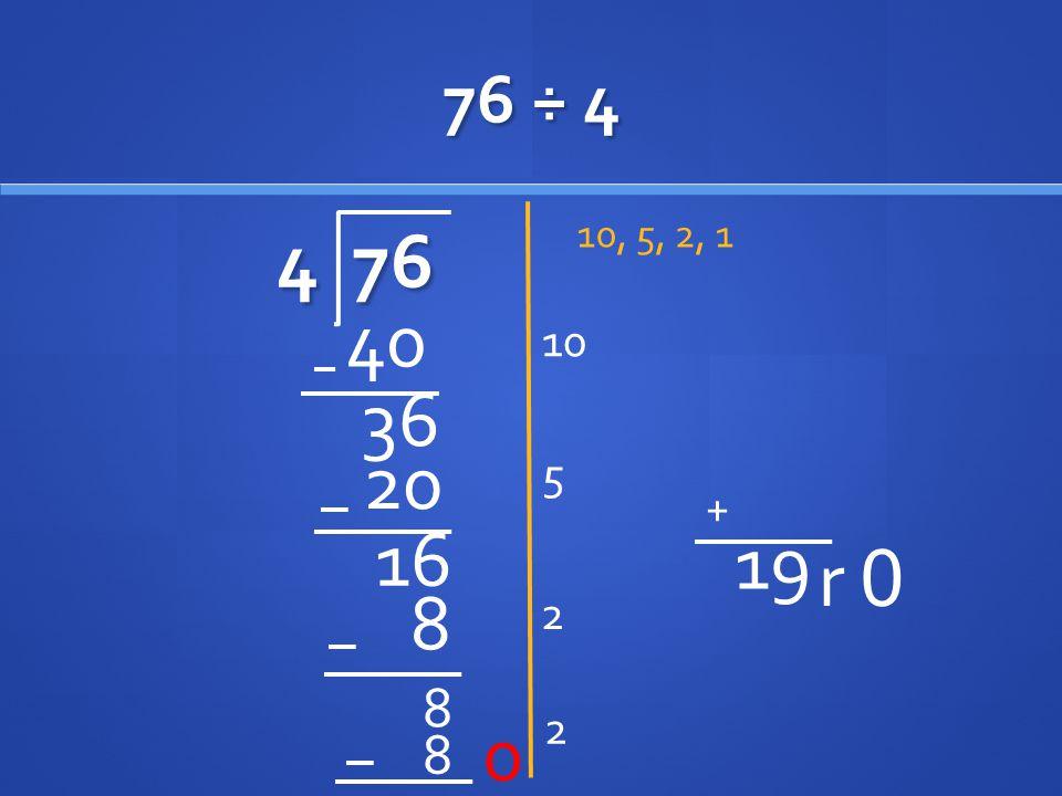 76 ÷ 4 4 76 10, 5, 2, 1 10 40 36 20 5 16 2 8 8 2 8 0 r 0 + 19