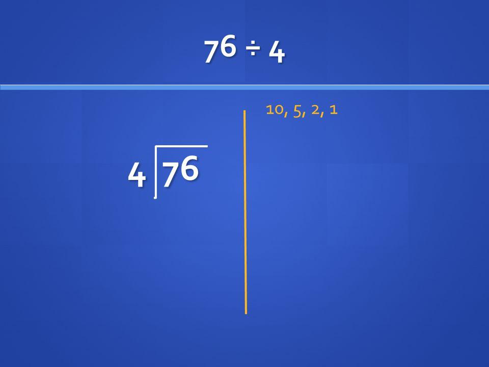 76 ÷ 4 4 76 10, 5, 2, 1