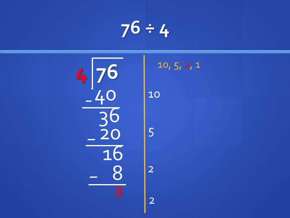 76 ÷ 4 4 76 10, 5, 2, 1 10 40 36 20 5 16 2 8 8 2