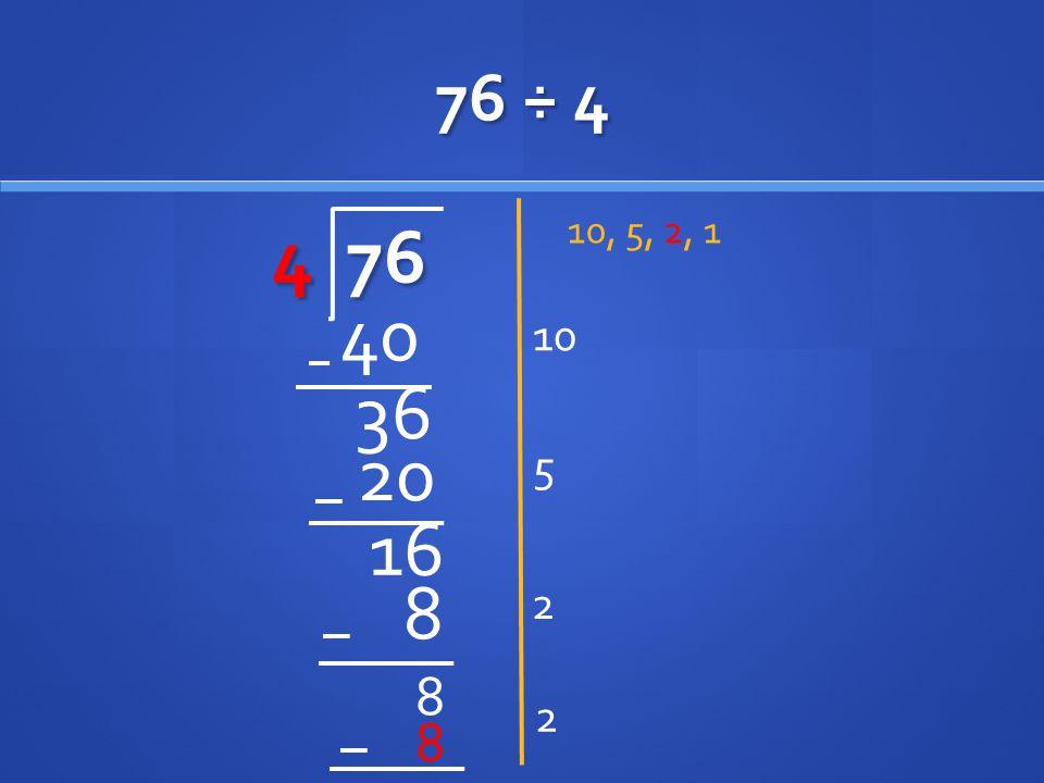 76 ÷ 4 4 76 10, 5, 2, 1 10 40 36 20 5 16 2 8 8 2 8