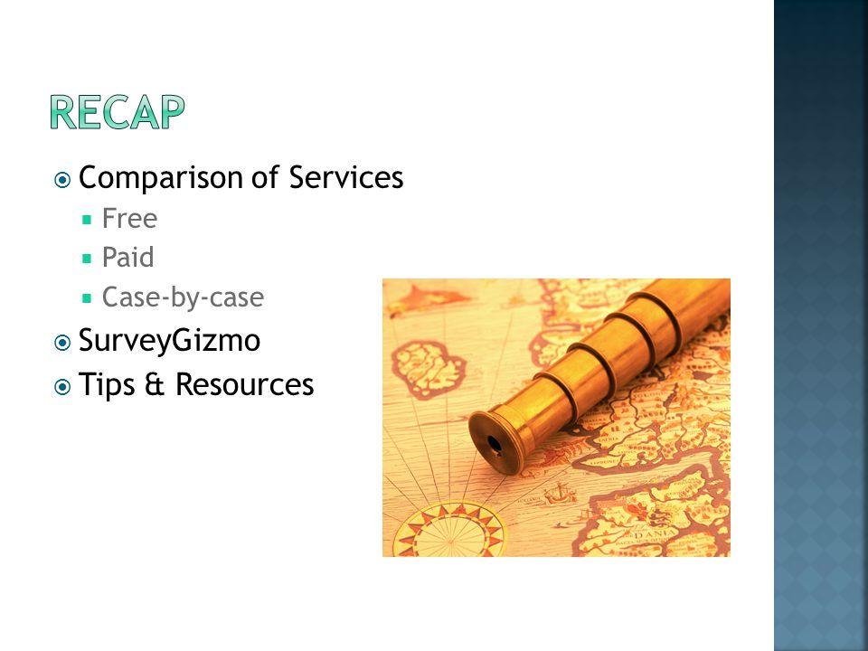  Comparison of Services  Free  Paid  Case-by-case  SurveyGizmo  Tips & Resources