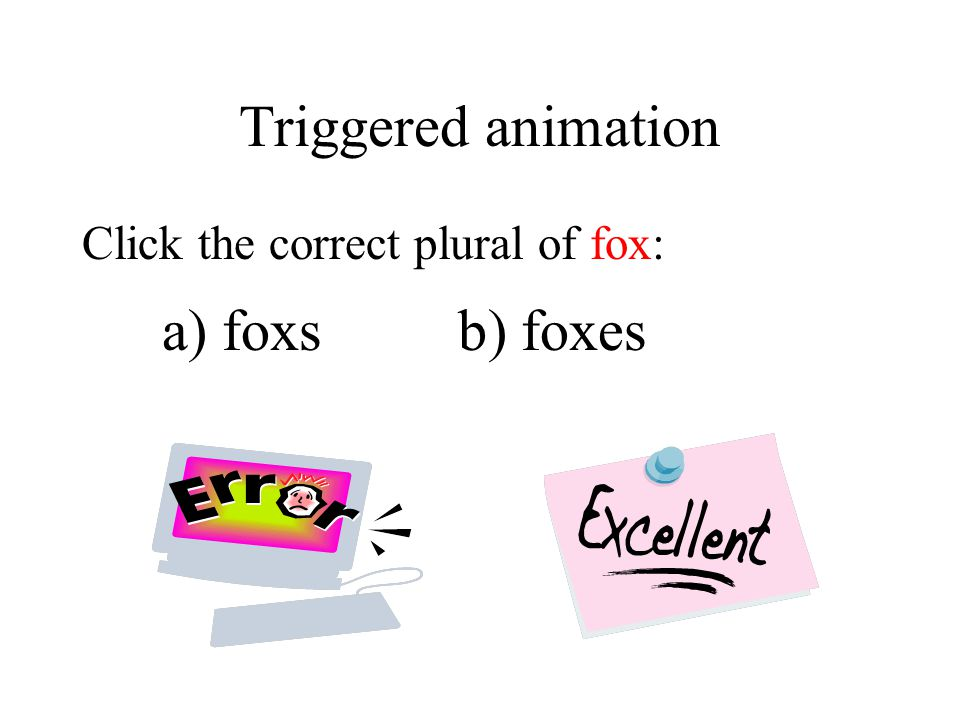 Triggered animation Click the correct plural of fox: a) foxsb) foxes
