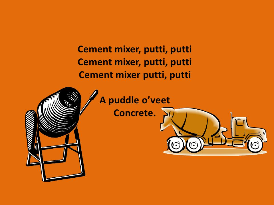 Cement mixer, putti, putti Cement mixer putti, putti A puddle o'veet Concrete.