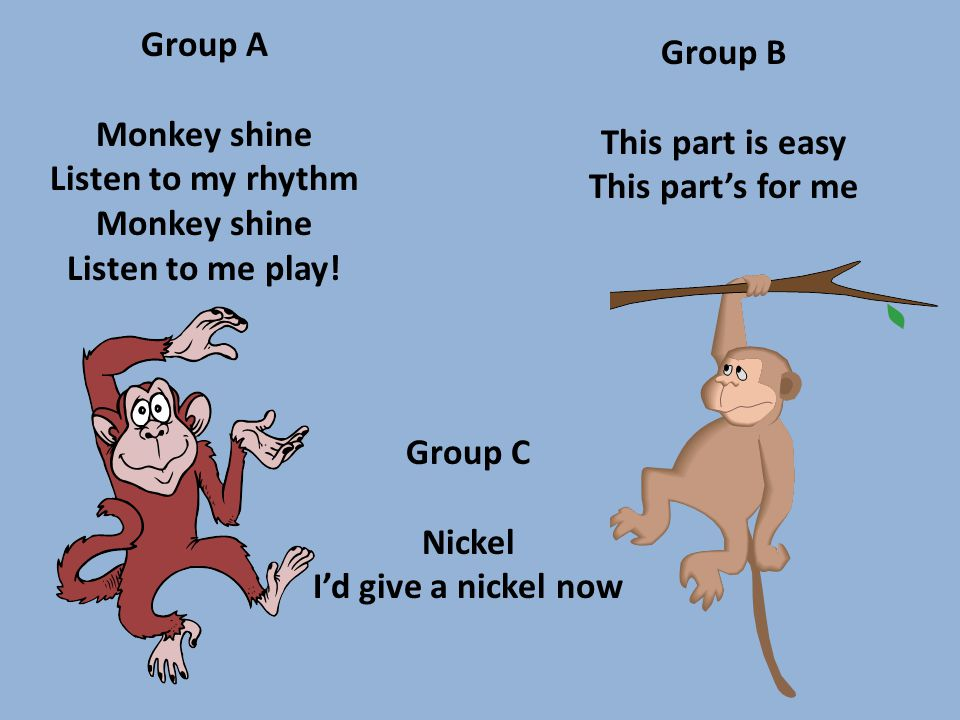 Group A Monkey shine Listen to my rhythm Monkey shine Listen to me play.