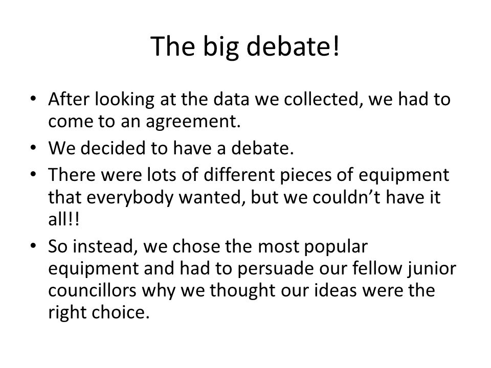 The big debate. After looking at the data we collected, we had to come to an agreement.
