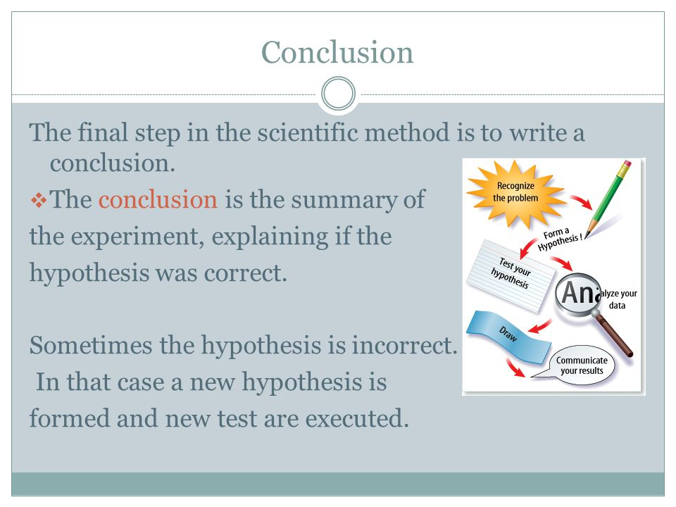 Conclusion The final step in the scientific method is to write a conclusion.  The conclusion is the summary of the experiment, explaining if the hypo
