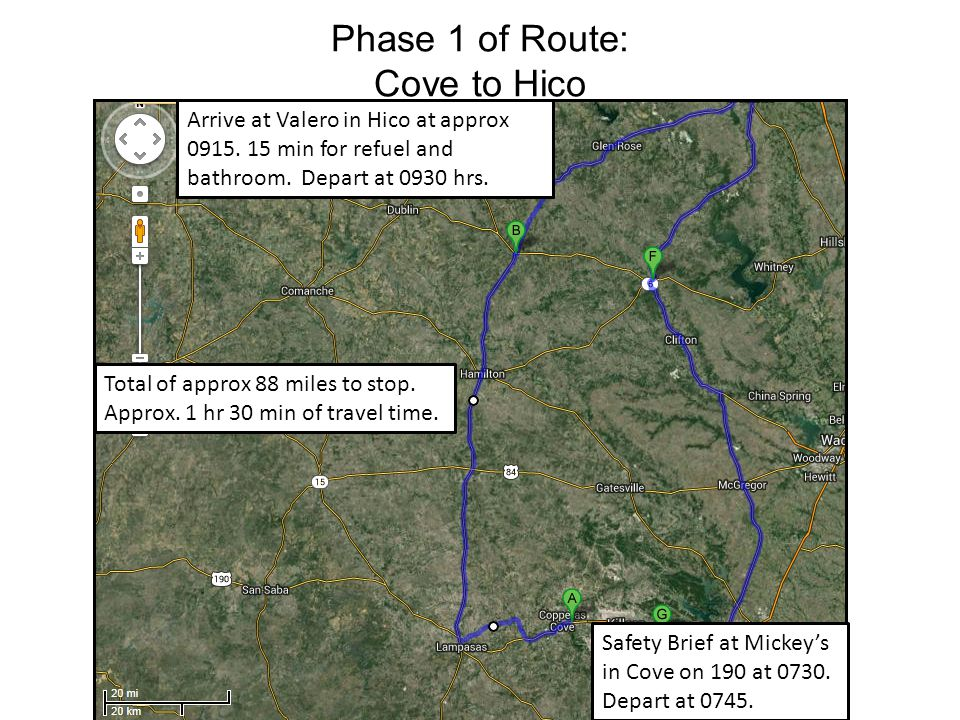 Phase 2 of Route: Hico to Dallas Total of approx 110 miles to stop.