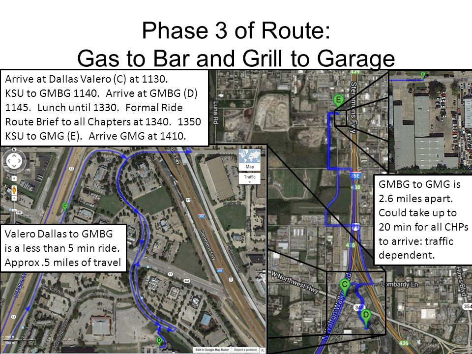 Phase 3 of Route: Gas to Bar and Grill to Garage Arrive at Dallas Valero (C) at 1130. KSU to GMBG 1140. Arrive at GMBG (D) 1145. Lunch until 1330. For