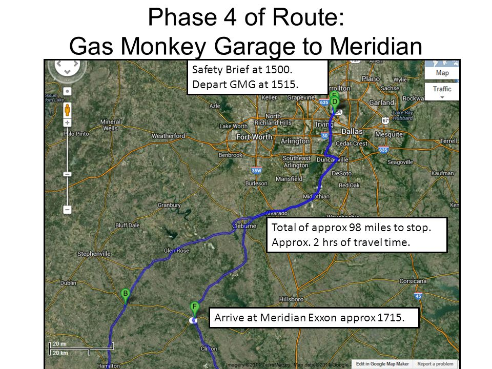 Phase 5 of Route: Meridian to Harker Heights Total of approx 78 miles to release.