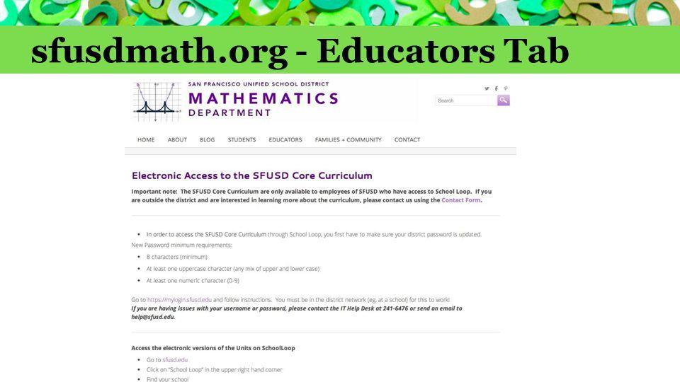 sfusdmath.org - Educators Tab