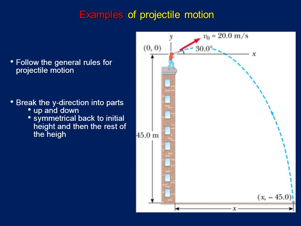 Follow the general rules for projectile motion Break the y-direction into parts up and down symmetrical back to initial height and then the rest of the heigh