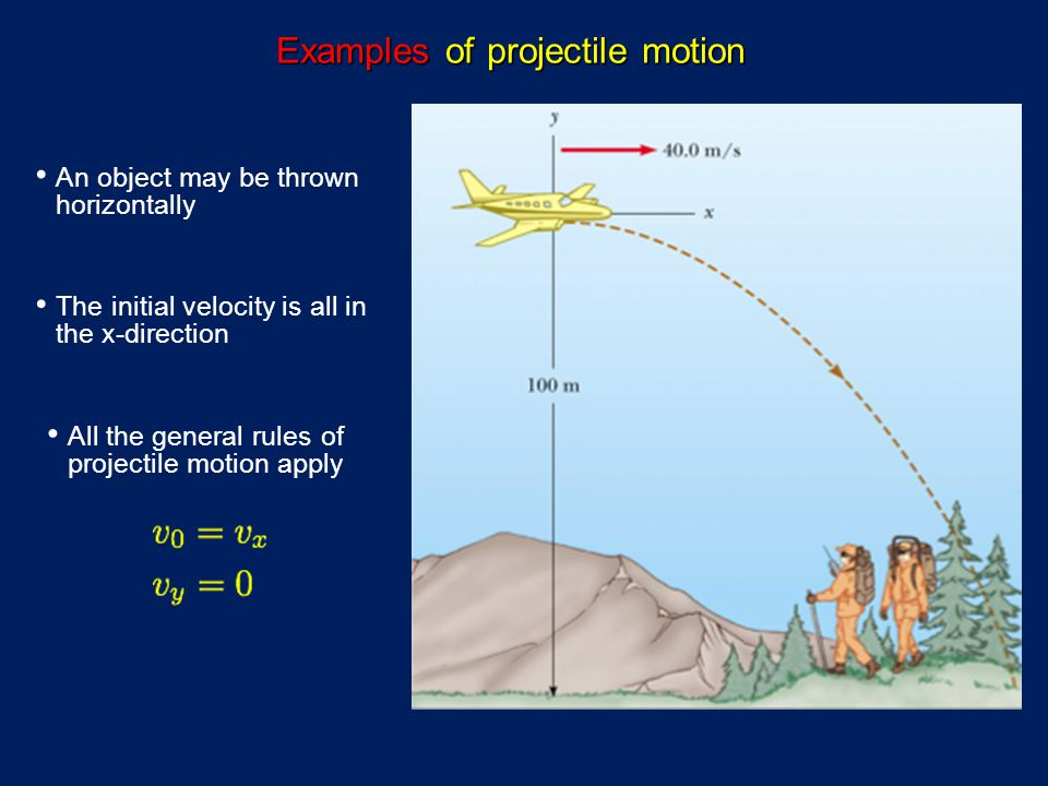 Examples of projectile motion An object may be thrown horizontally The initial velocity is all in the x-direction All the general rules of projectile motion apply