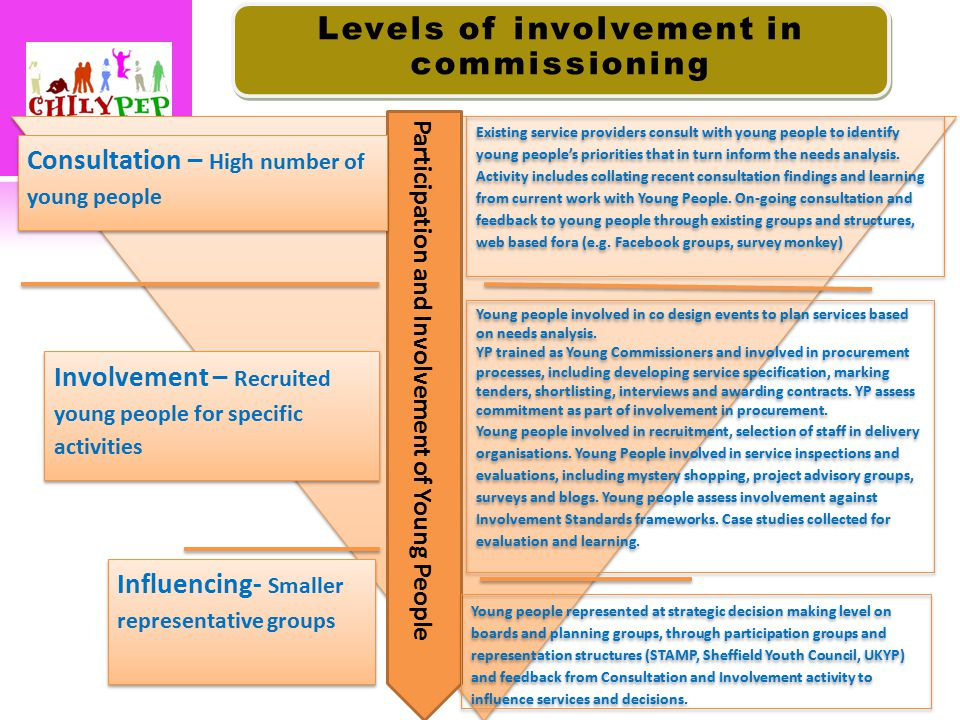 Participation and Involvement of Young People Consultation – High number of young people Consultation – High number of young people Influencing- Smaller representative groups Existing service providers consult with young people to identify young people's priorities that in turn inform the needs analysis.