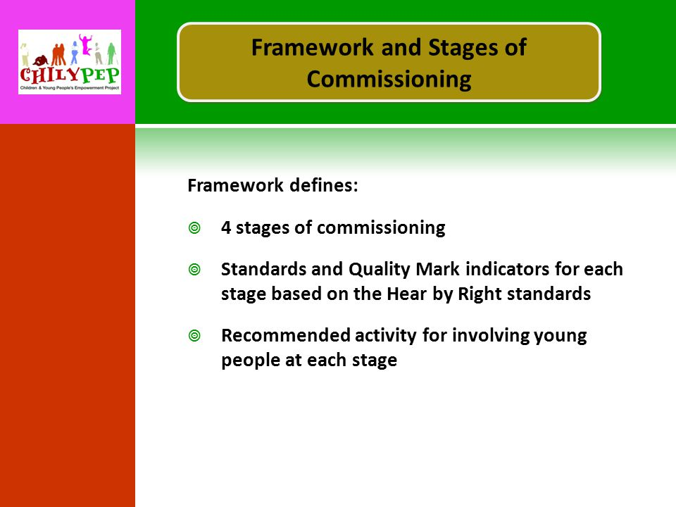 Framework defines:  4 stages of commissioning  Standards and Quality Mark indicators for each stage based on the Hear by Right standards  Recommended activity for involving young people at each stage Framework and Stages of Commissioning