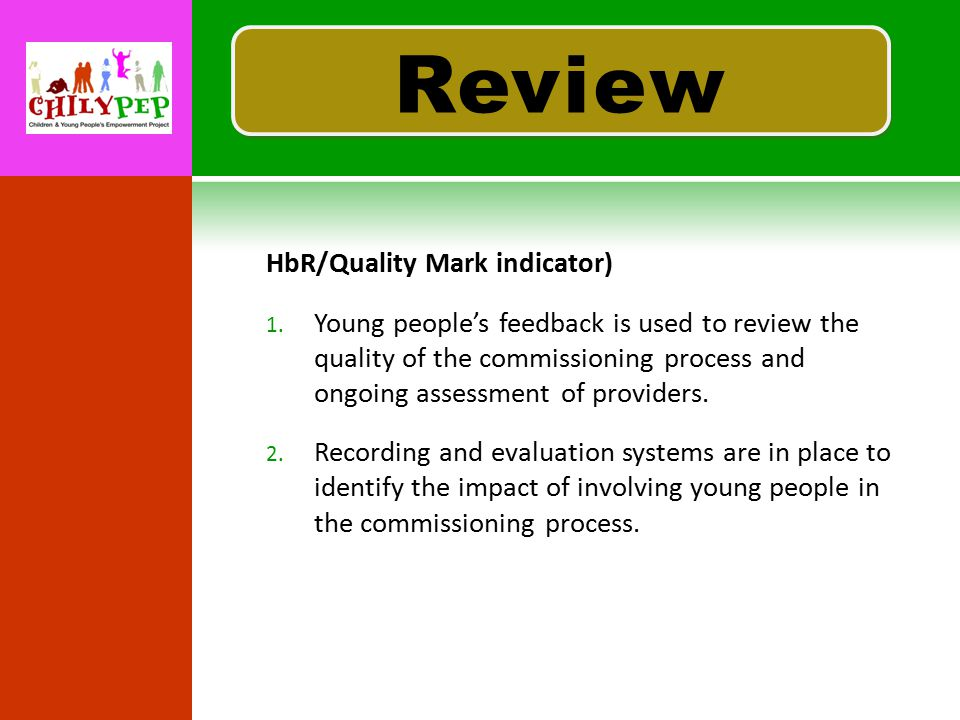 R EVIEW HbR/Quality Mark indicator) 1.