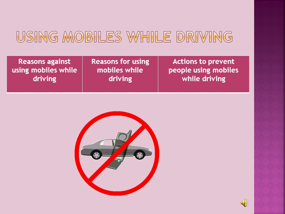 Reasons against using mobiles while driving Reasons for using mobiles while driving Actions to prevent people using mobiles while driving