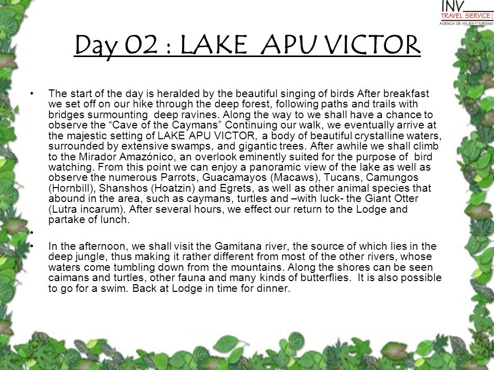 Day 02 : LAKE APU VICTOR The start of the day is heralded by the beautiful singing of birds After breakfast we set off on our hike through the deep forest, following paths and trails with bridges surmounting deep ravines.