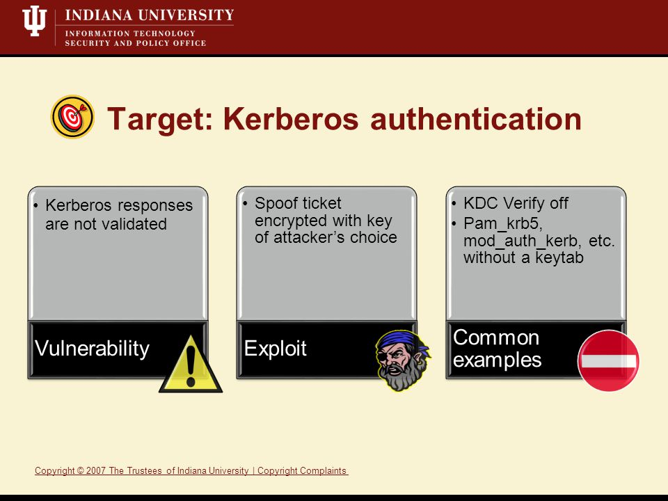 Target: Kerberos authentication Kerberos responses are not validated Vulnerability Spoof ticket encrypted with key of attacker's choice Exploit KDC Verify off Pam_krb5, mod_auth_kerb, etc.