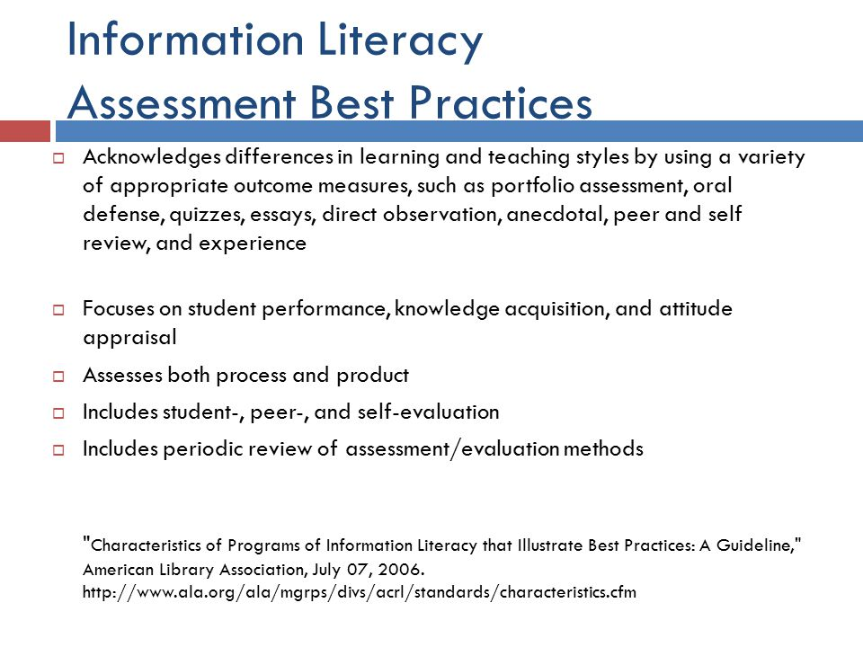 Towards Performance Based Assessment  Annotated Bibliography  Retrieve relevant articles  Cite properly  Synthesize information  Apply information